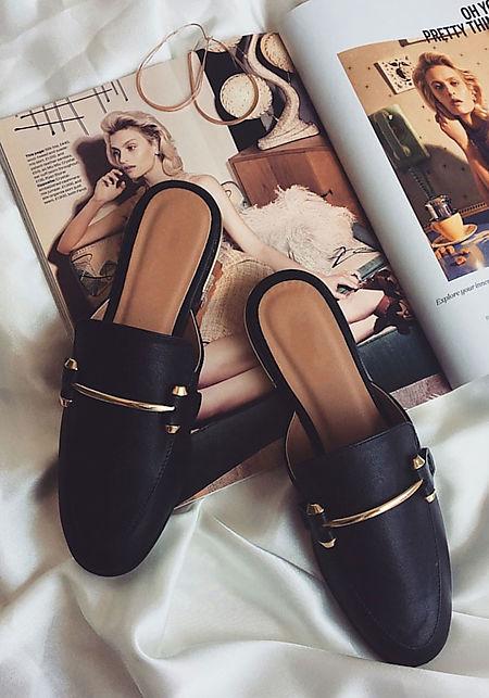 Black Leatherette Loafer Slides