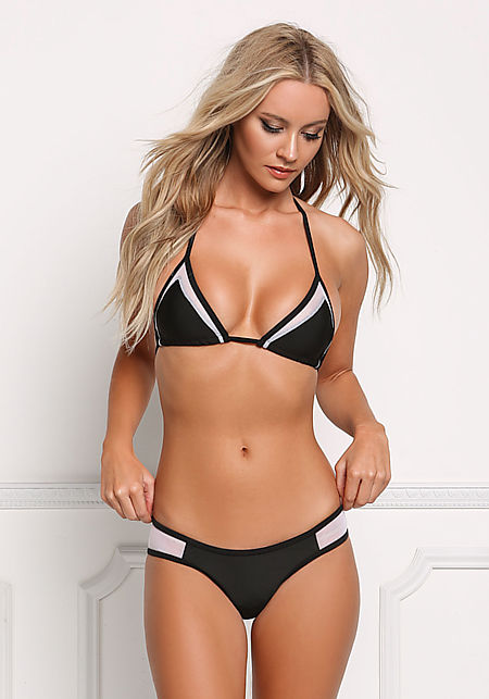 Black and White Mesh Triangle Swimsuit Bikini Set