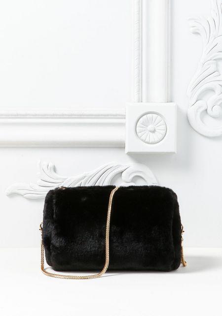 Black Faux Fur Mini Clutch