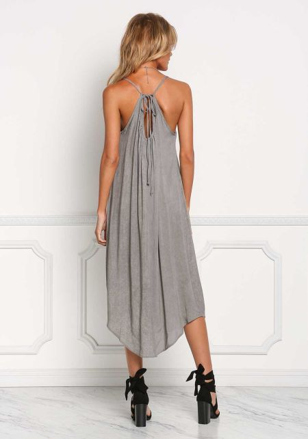 Grey Vintage Wash Shift Midi Dress
