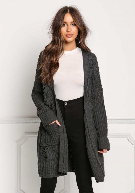 Charcoal Thick Knit Frayed Pocket Cardigan