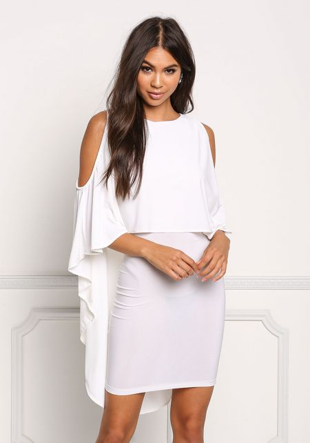 Ivory Layered Hi-Lo Cold Shoulder Dress