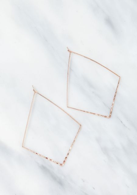 Rose Gold Thin Wire Diamond Earrings