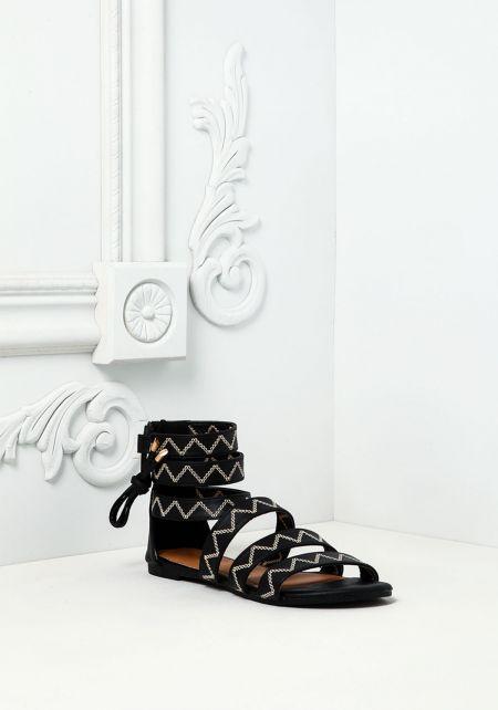 Black Leatherette Stitched Sandals