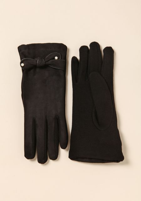 Black Suedette Pearl Bow Gloves