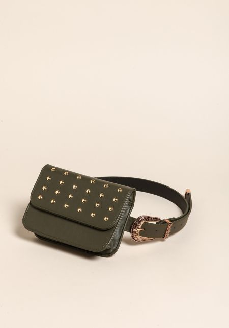 Olive Studded Leatherette Fanny Belt