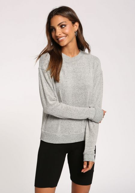 Heather Grey Soft Knit Sweater Top