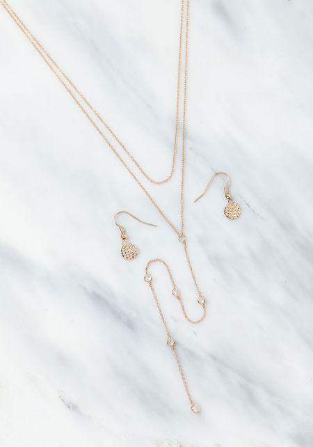 Gold Layered Rhinestone Delicate Necklace