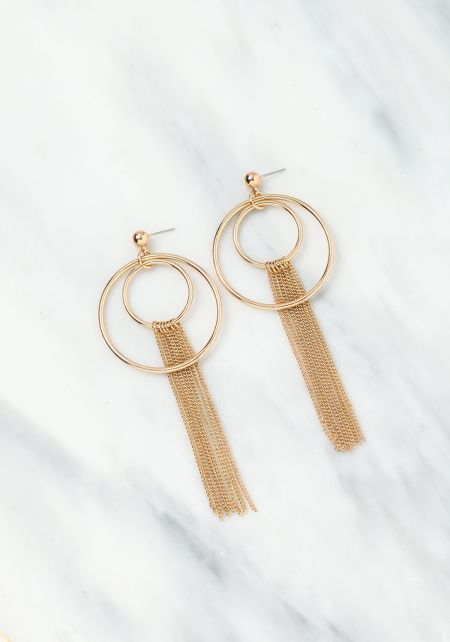 Gold Layered Chain and Circle Hoop Earrings