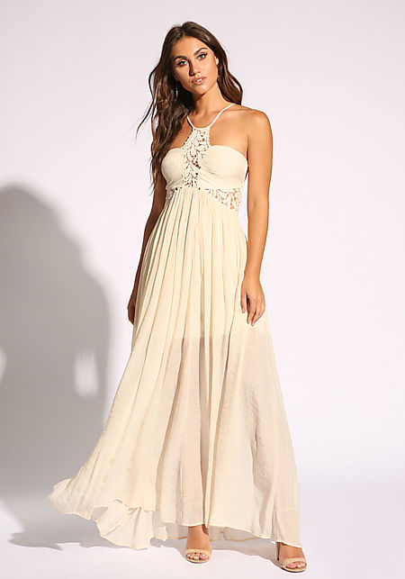 Cream Floral Crepe Multi Strap Maxi Dress