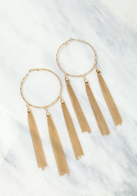 Gold Large Hoop Long Tassel Earrings