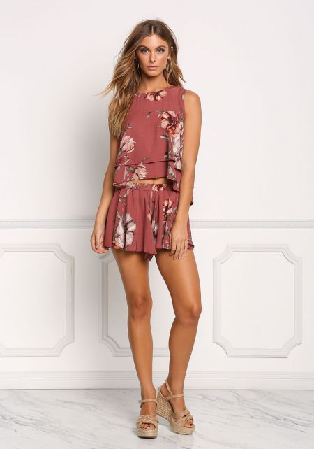 Burgundy Floral Crepe Flared Shorts