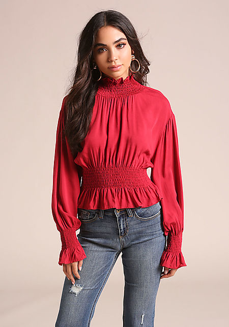 Red Smocked Puff Sleeve Blouse
