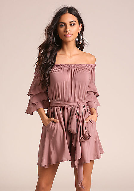 Mauve Off Shoulder Tiered Bell Sleeve Flared Rompe