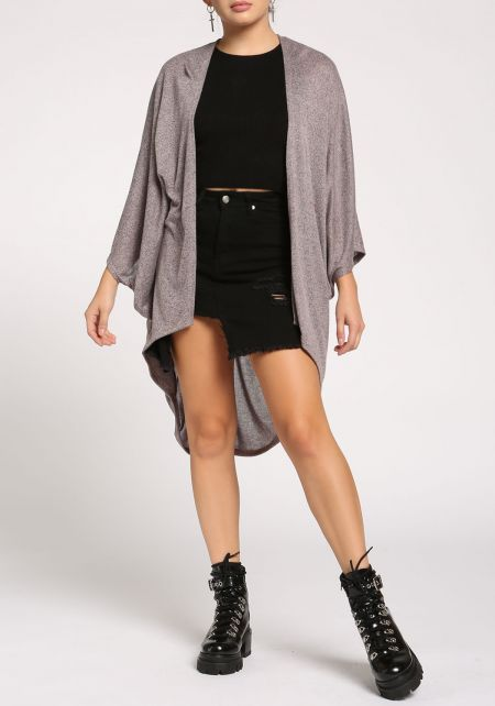 Mauve Draped Dolman Knit Cardigan
