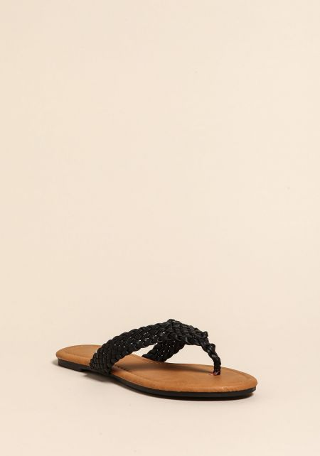 Black Braided Leatherette Thong Sandals