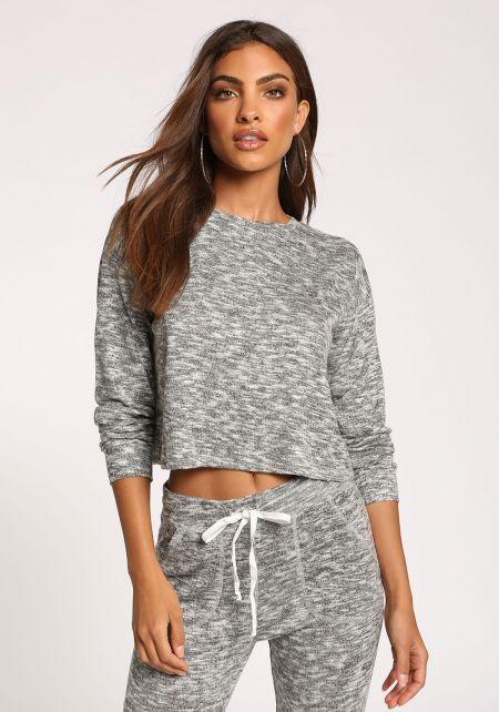 Grey Marled Knit Crop Top