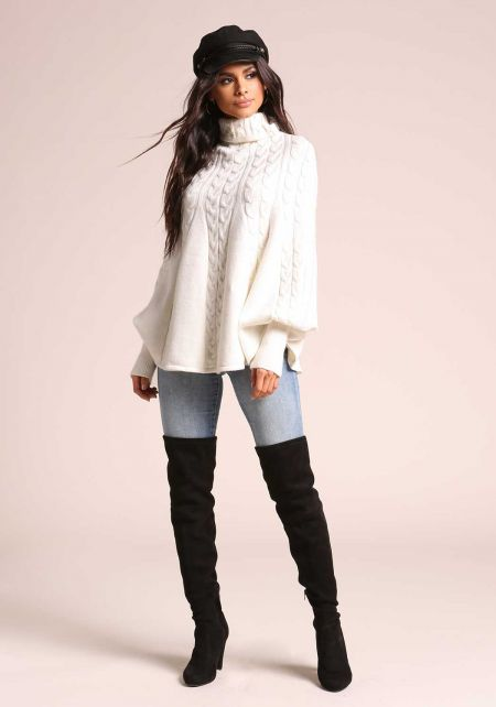 Ivory Cable Knit Ruffle Poncho Sweater