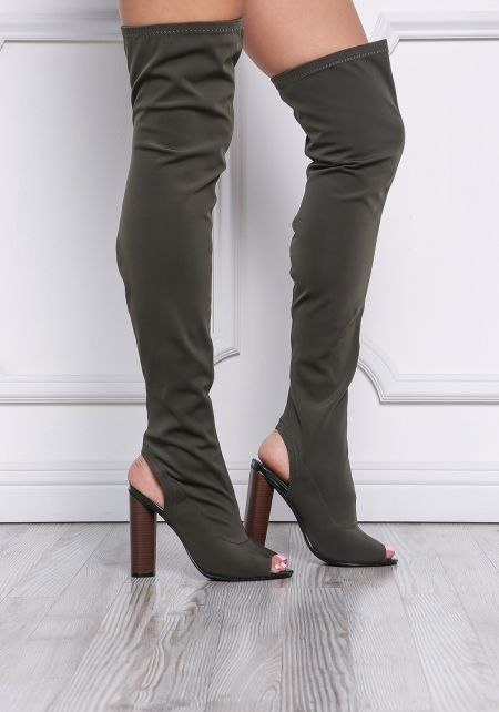 Olive Cut Out Thigh High Boots