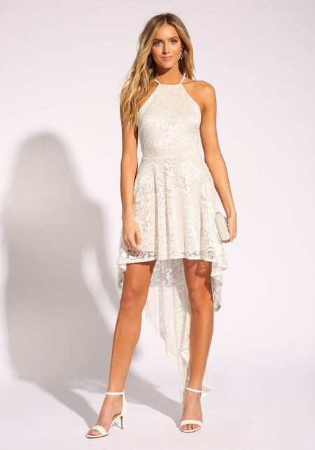 White Floral Lace Hi-Lo Flared Dress