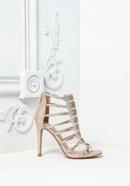 Gold Rhinestone Metallic Multi Strap Heels