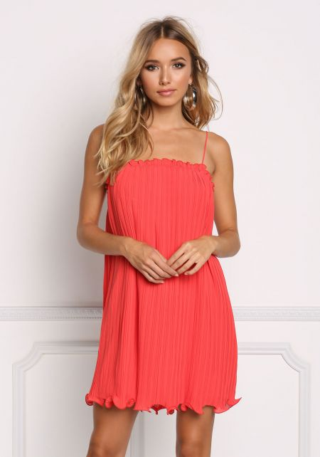 Red Pleated Ruffle Shift Dress