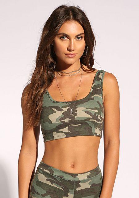 Camouflage Scoop Crop Top