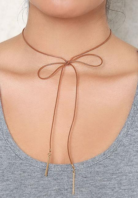 Brown Thin Bow Choker