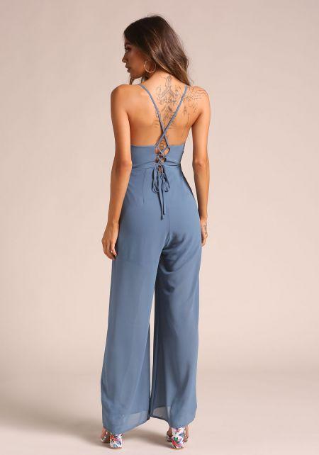 Blue Back Lace Up Palazzo Jumpsuit