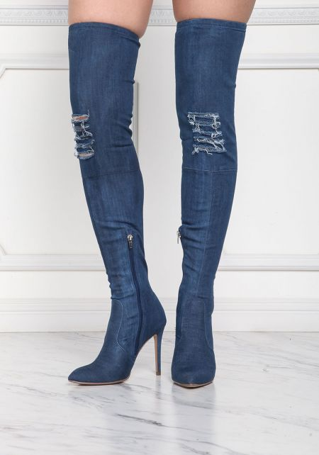 Dark Denim Pointed Over The Knee Boots