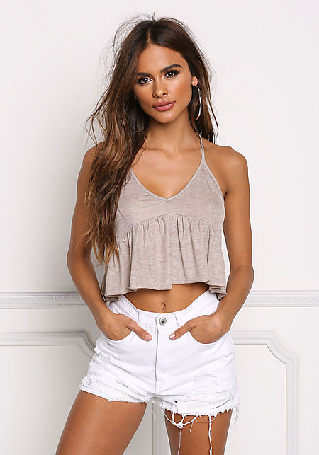 Taupe Ruffle Ribbed Knit Crop Top