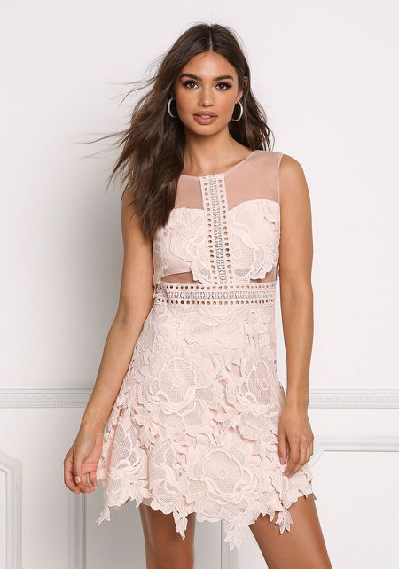 Blush Floral Crochet Flare Dress
