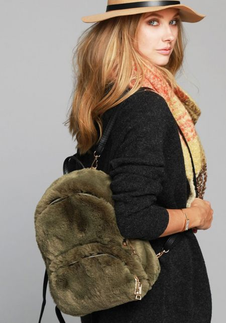 Olive Faux Fur Backpack