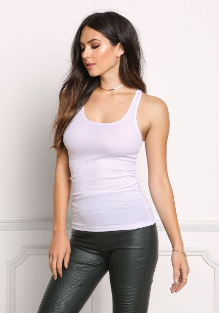 White Basic Racerback Tank Top