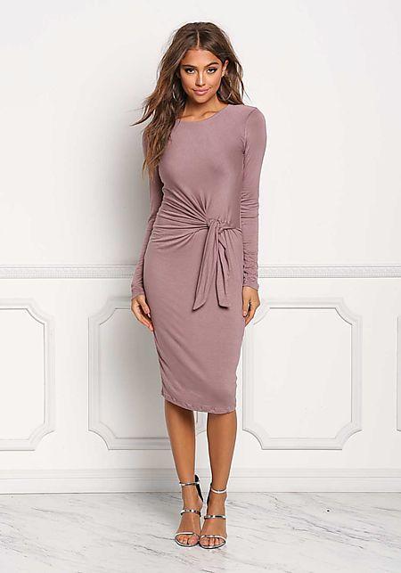 Mauve Tied Waist Jersey Knit Dress