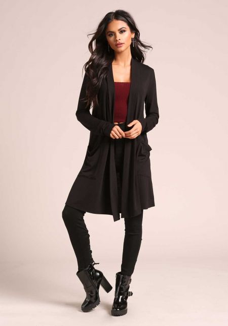 Black Jersey Knit Longlined Pocket Cardigan