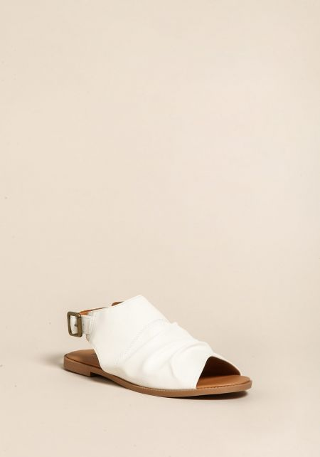 White Leatherette Peep Toe Sandals