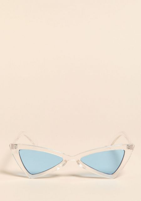 Clear Blue Colored Geometric Cat Eye Sunglasses