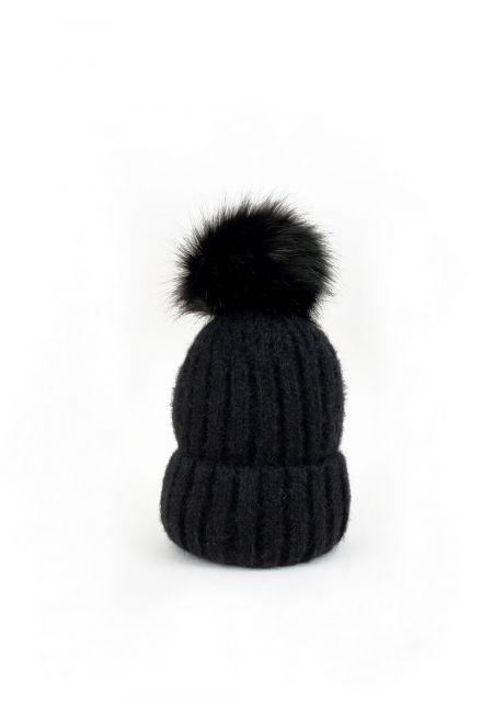 Black Faux Fur Pom Pom Thick Knit Beanie