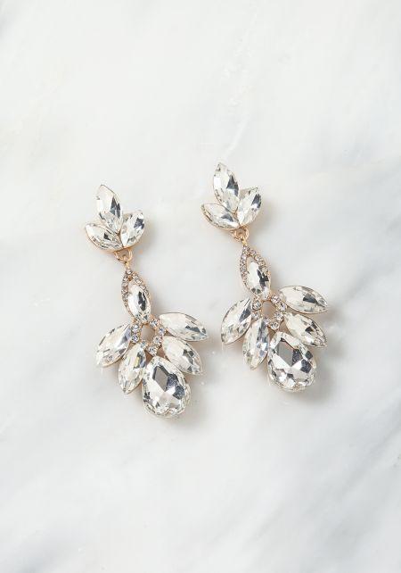 Gold Teardrop Rhinestone Earrings