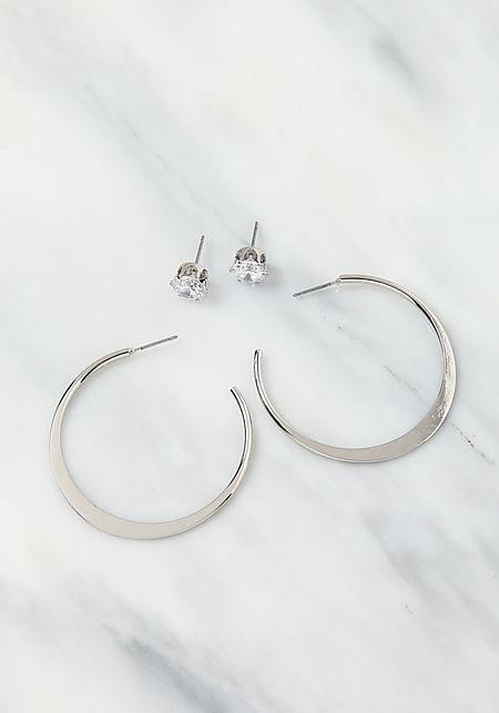 Silver C Hoop & Stud Earrings Set