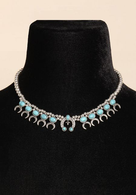 Turquoise Beaded Stone Necklace