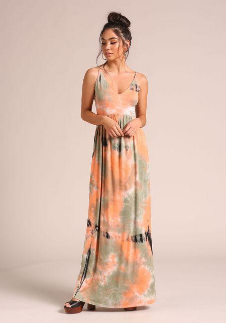 Orange Tie Dye Low Back Maxi Dress