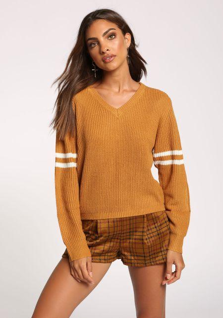 Mustard V Neck Varsity Sweater Top