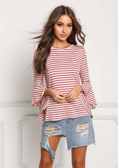 Oatmeal Stripe Bell Sleeve Knit Top