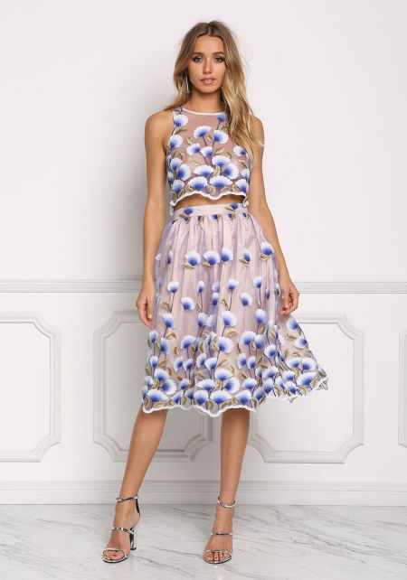 Blue Floral Embroidered Tulle A-Line Skirt