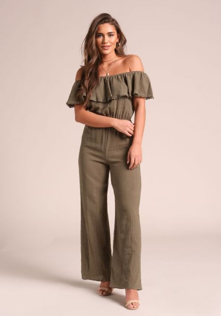 Olive Layered Off Shoulder Jumpsuit