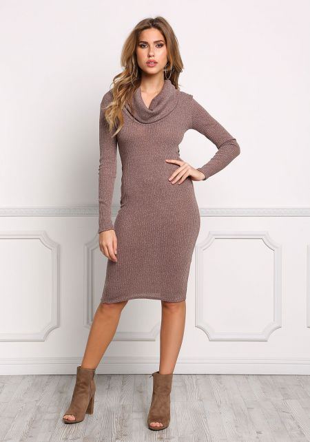Mocha Cowl Neck Ribbed Knit Bodycon Dress