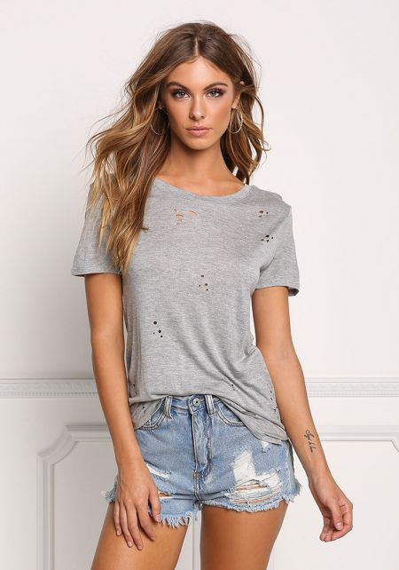 Heather Grey Distressed Jersey Knit Tee