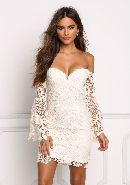 Cream Sweetheart Off Shoulder Floral Lace Dress